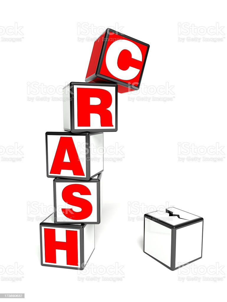Crash Concept with falling cubes royalty-free stock photo