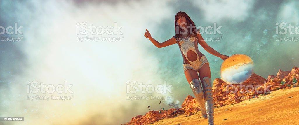 Crash landed on alien planet stock photo