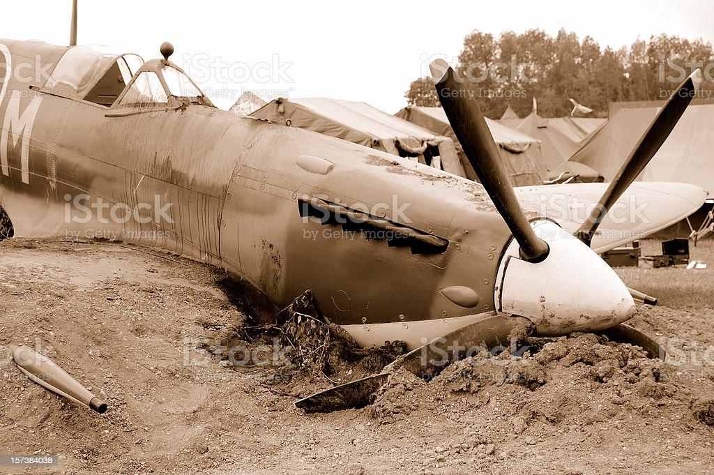 Crash landing. stock photo