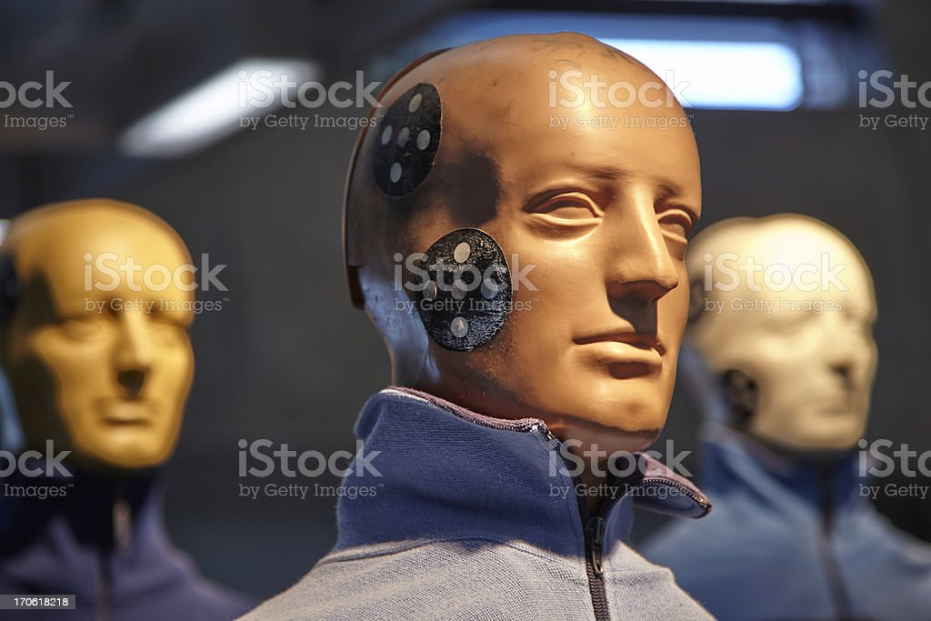 Crash test dummy heads stock photo