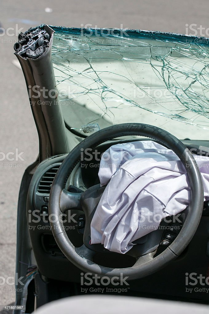 Crash vehicle with roof cut royalty-free stock photo