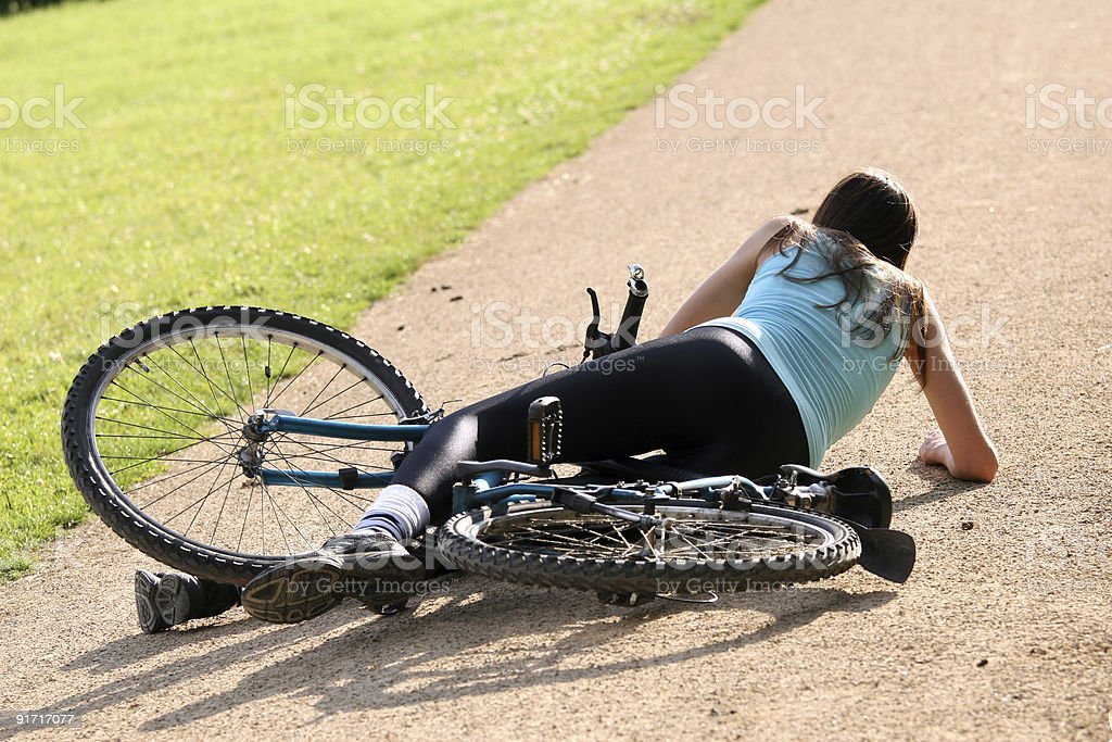 crash with bicycle royalty-free stock photo