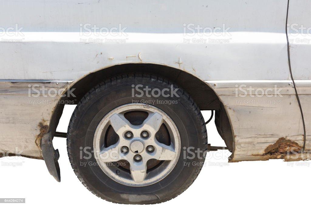 crashed car front side isolated on white stock photo