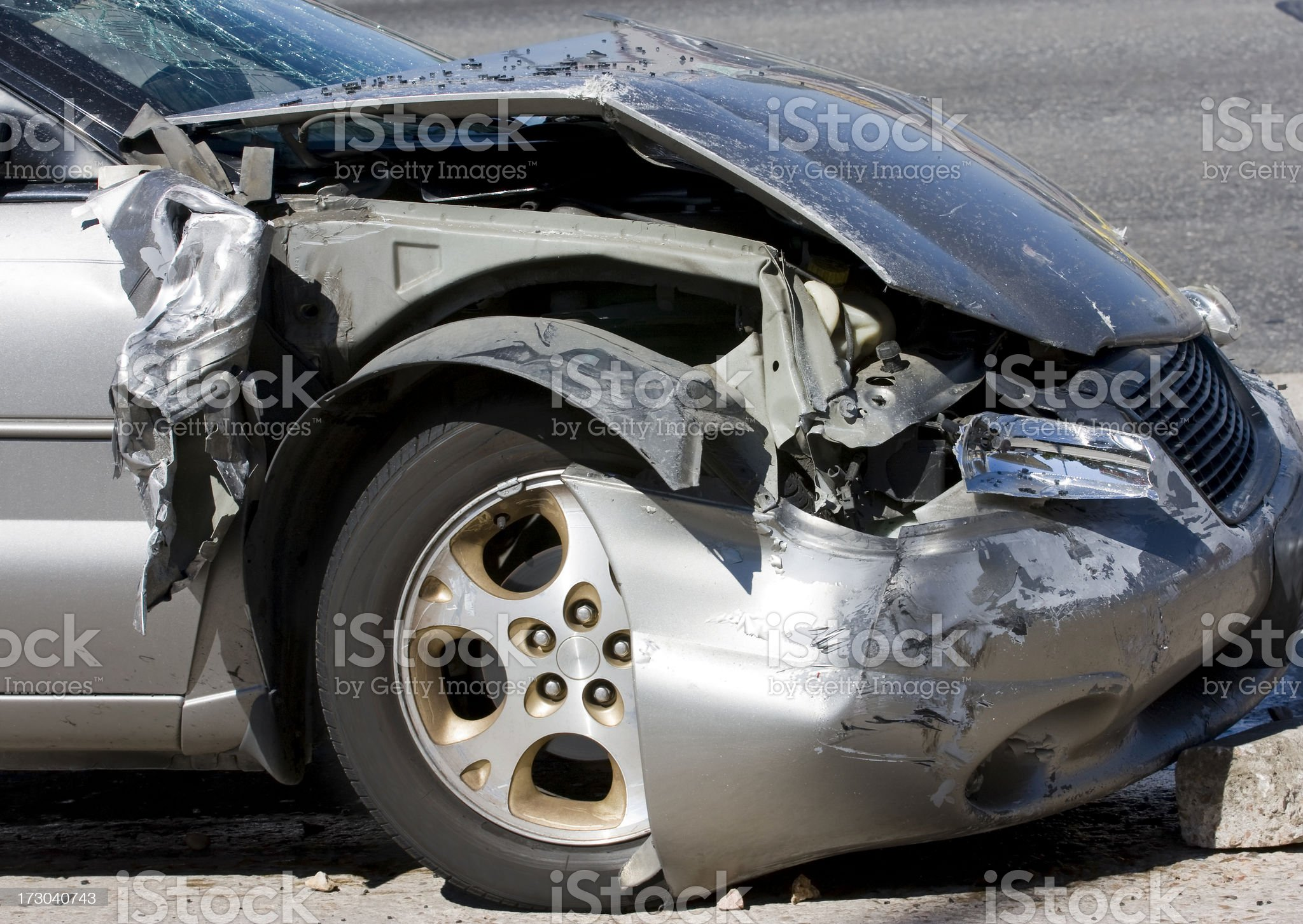 Crashed Car Silver royalty-free stock photo