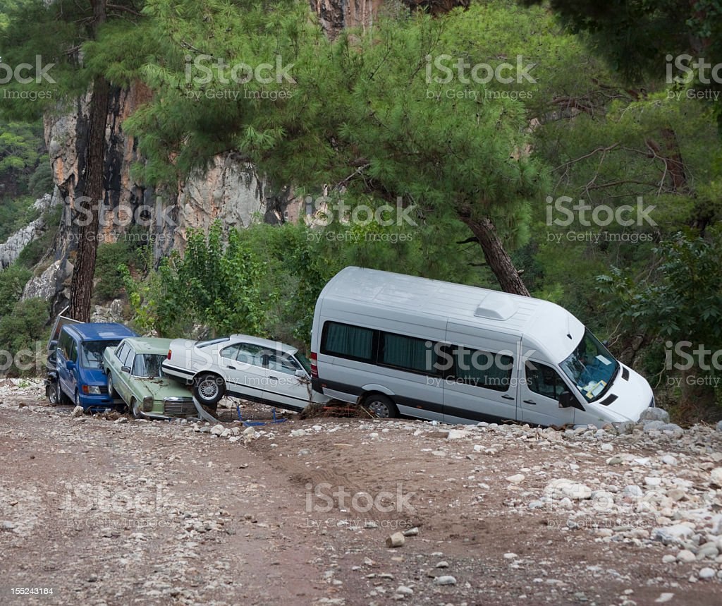 Crashed Cars after Flood Disaster royalty-free stock photo