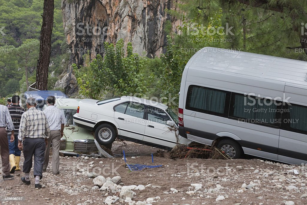Crashed Cars in Turkish Village royalty-free stock photo