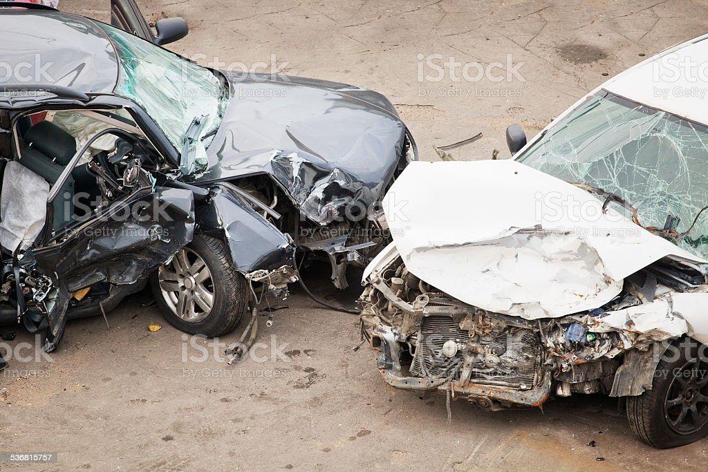 crashed cars stock photo