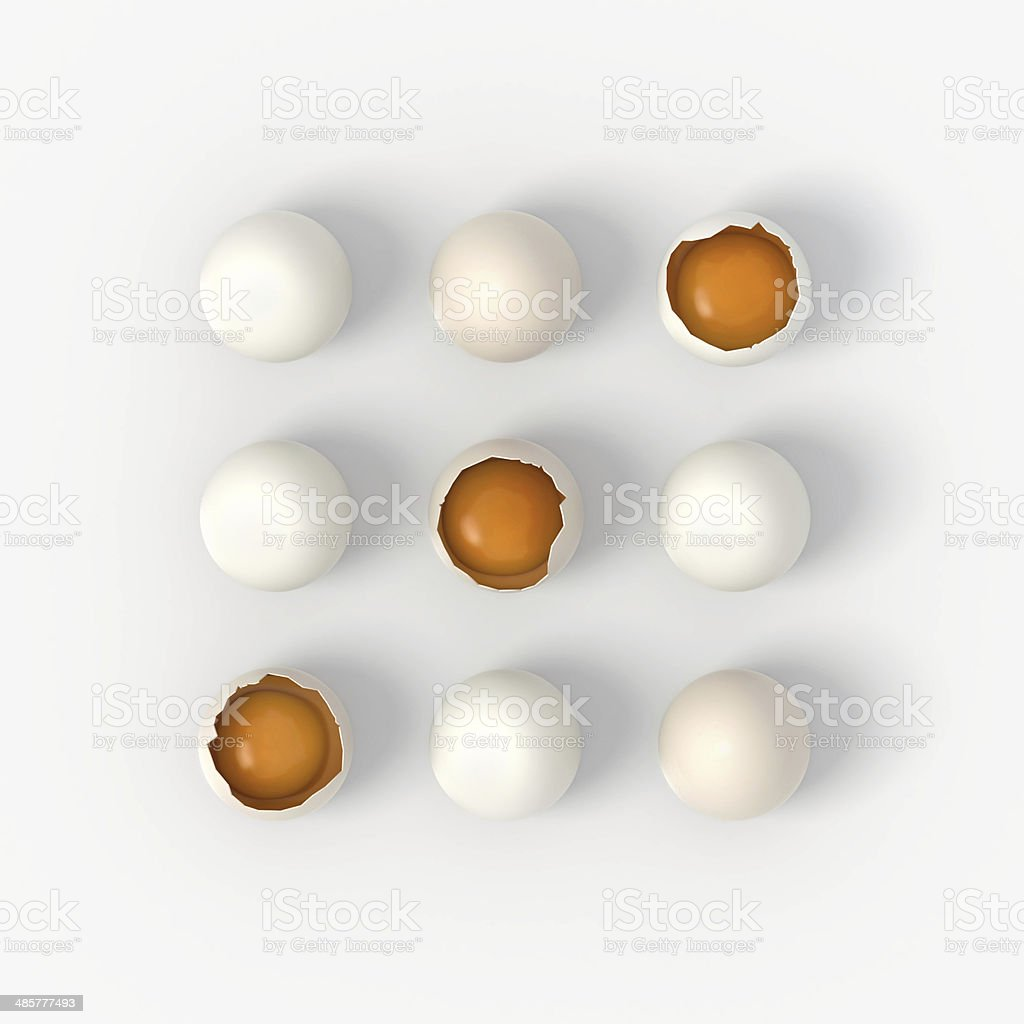 Crashed eggs game - Noughts and Crosses stock photo