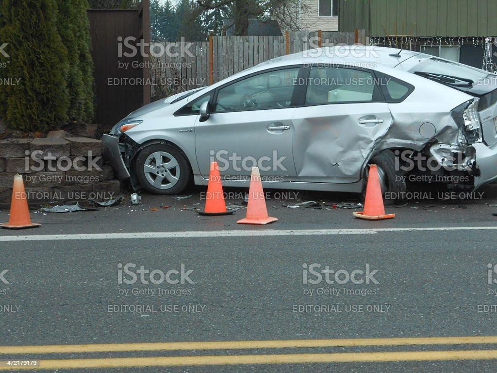 Crashed Prius stock photo