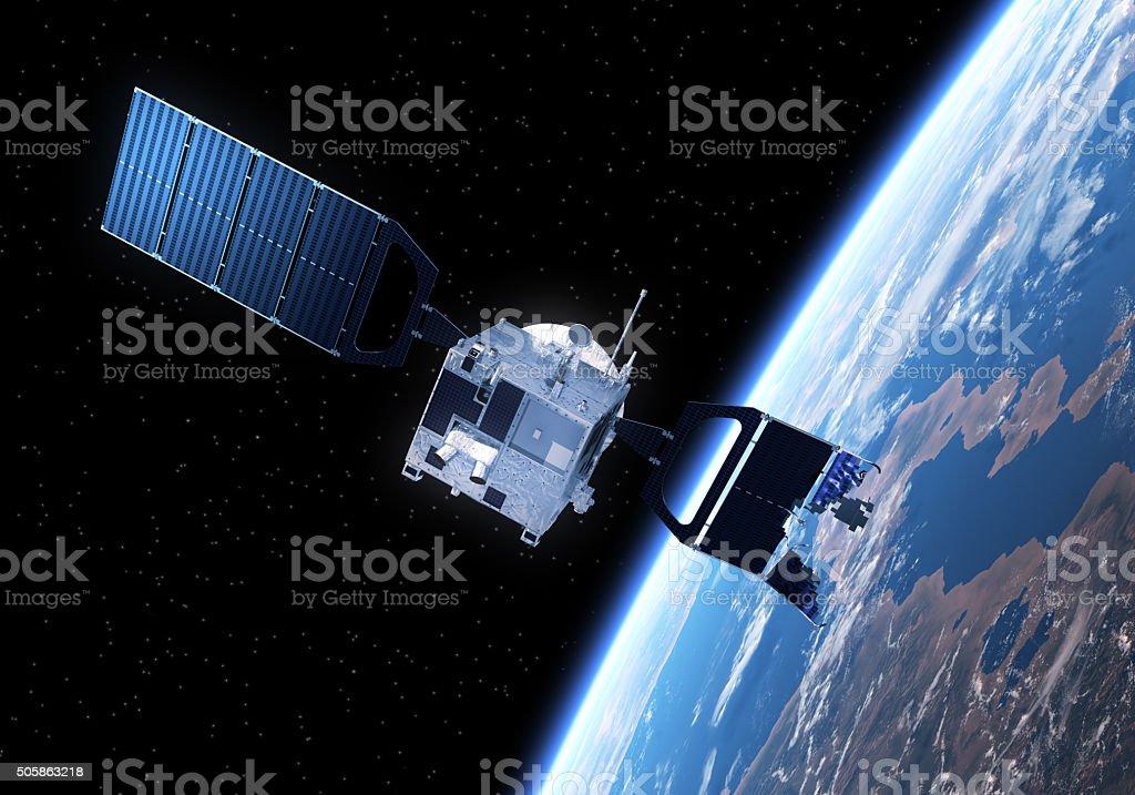 Crashed Satellite Flying Toward The Earth stock photo
