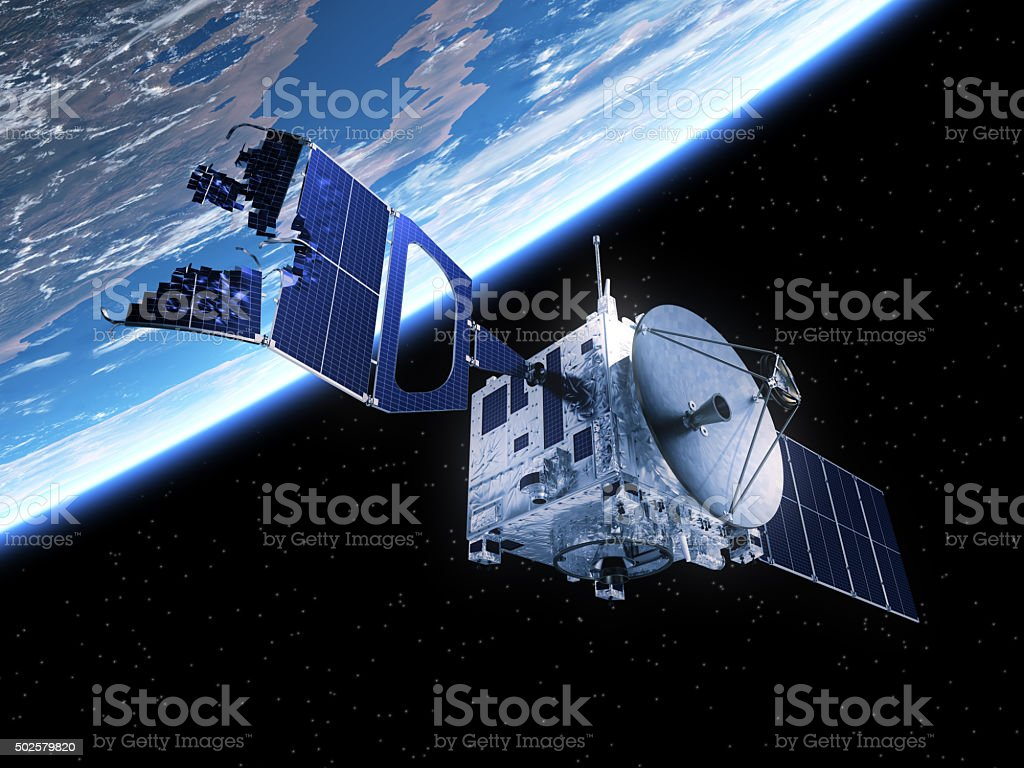 Crashed Satellite In Space stock photo