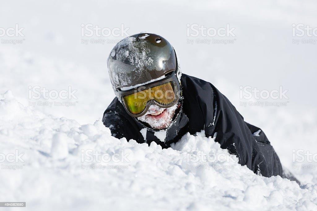 Crashed skier stock photo