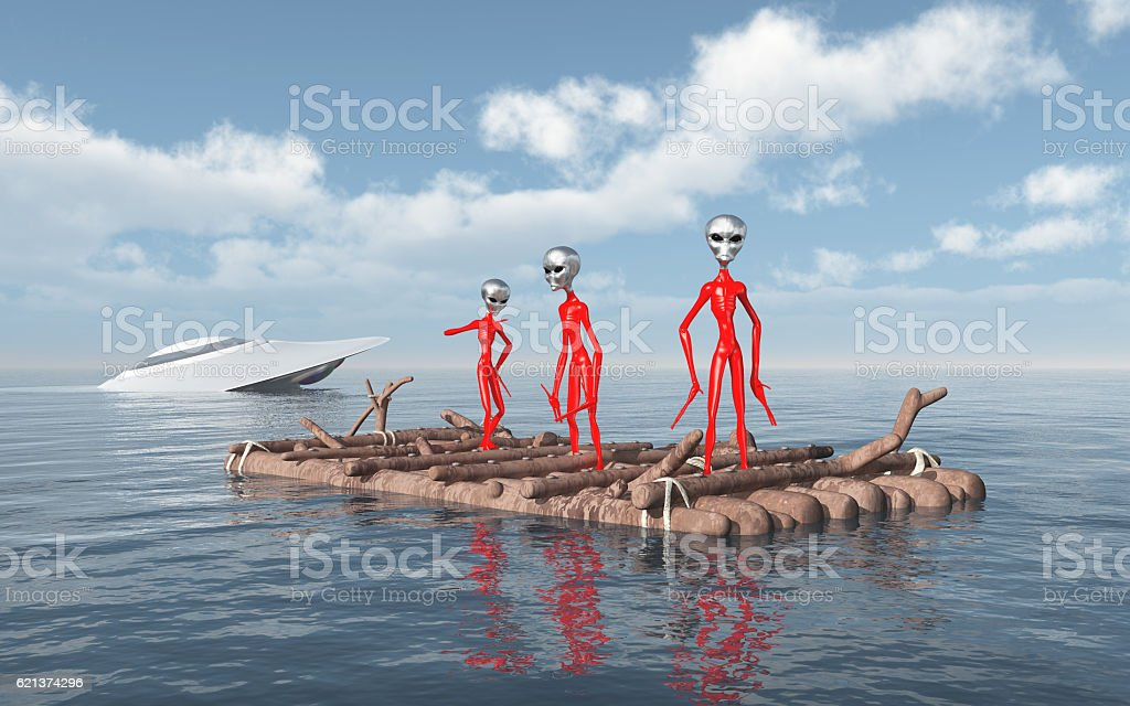 Crashed spaceship and aliens on a raft stock photo