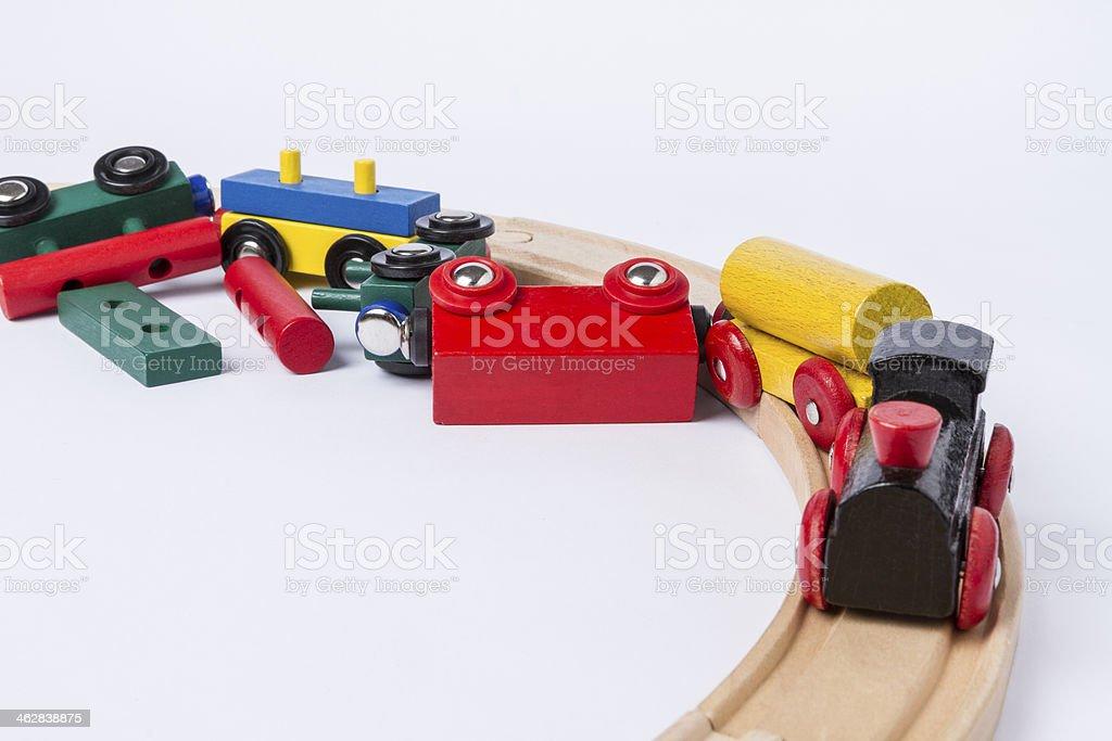 crashed wooden toy train stock photo