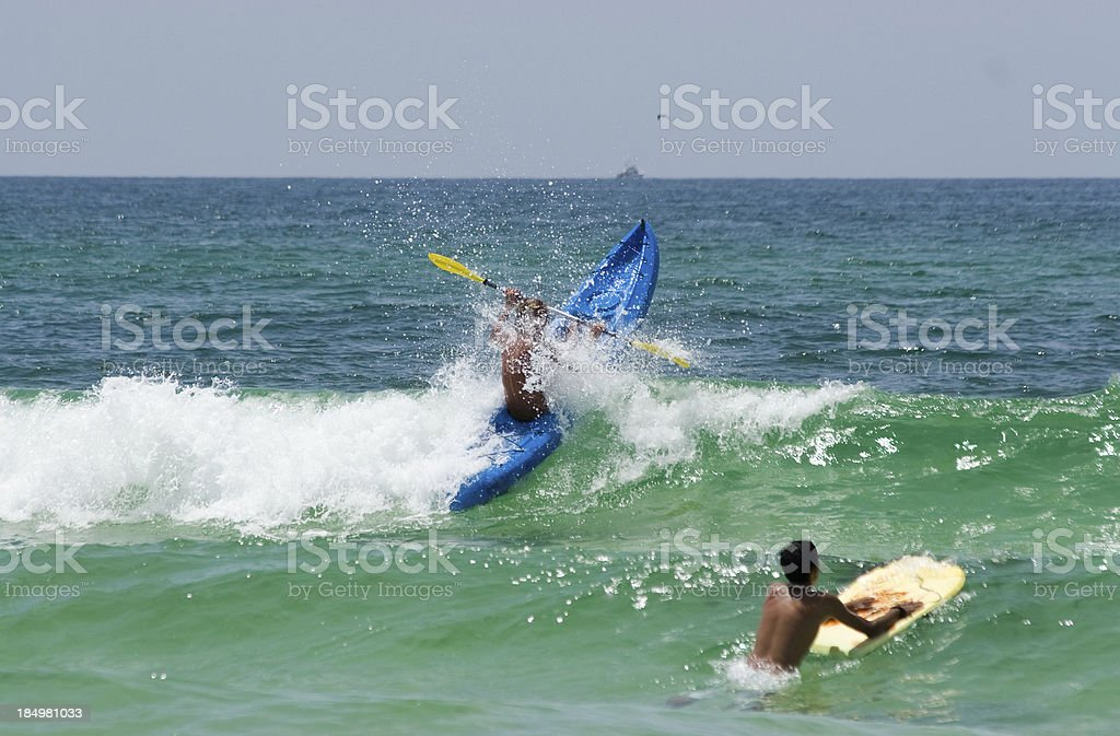 Crashing Into an Ocean Wave royalty-free stock photo