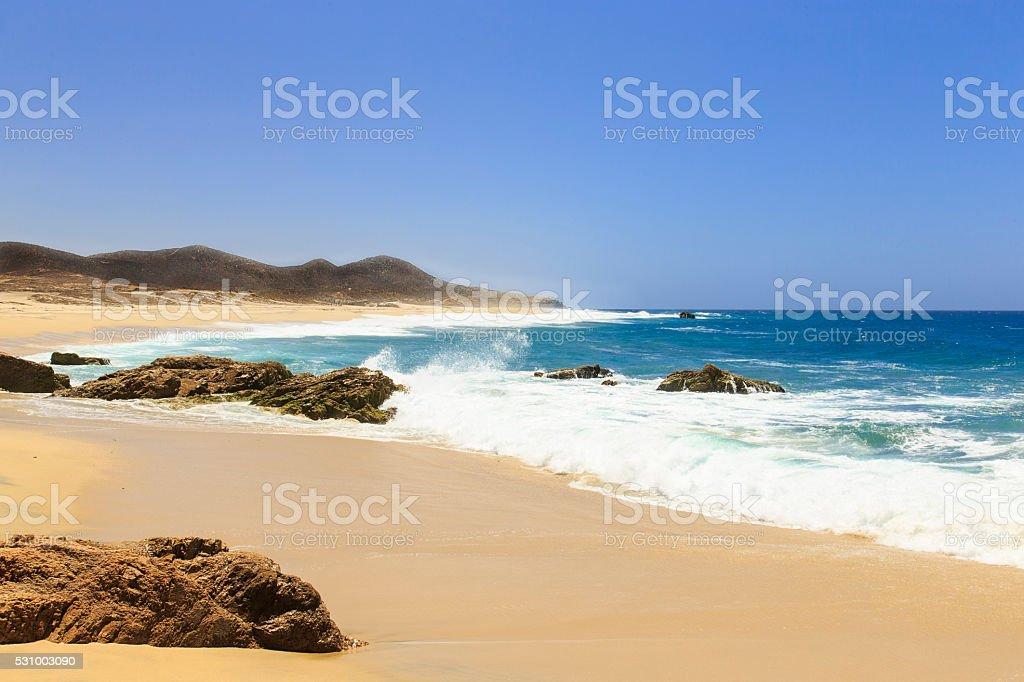 Crashing Waves along the Baja Peninsula stock photo