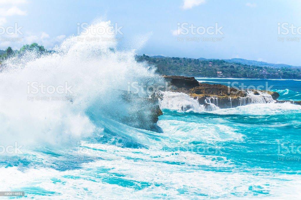 Crashing Waves, Lembongan, Indonesia stock photo