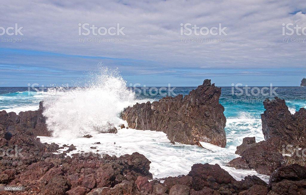 Crashing Waves on a Rocky Coast stock photo
