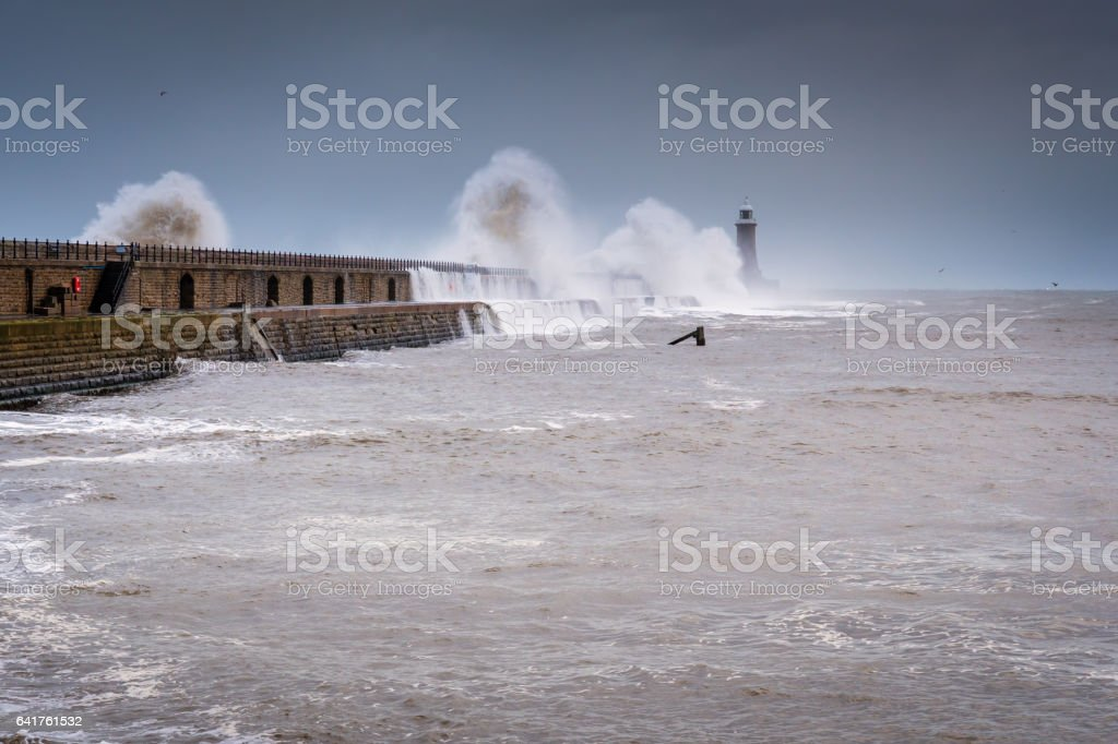 Crashing Waves on Tynemouth North Pier stock photo