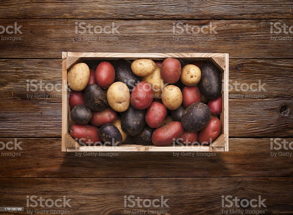 Crate of Mixed Potatoes on Wooden Background royalty-free stock photo
