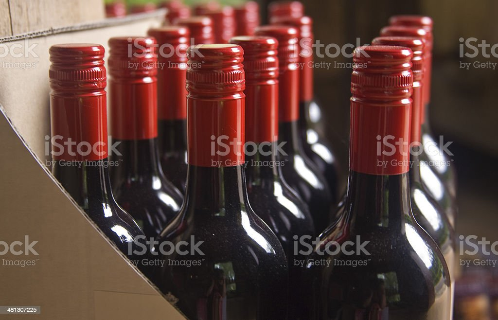 crate of wine stock photo
