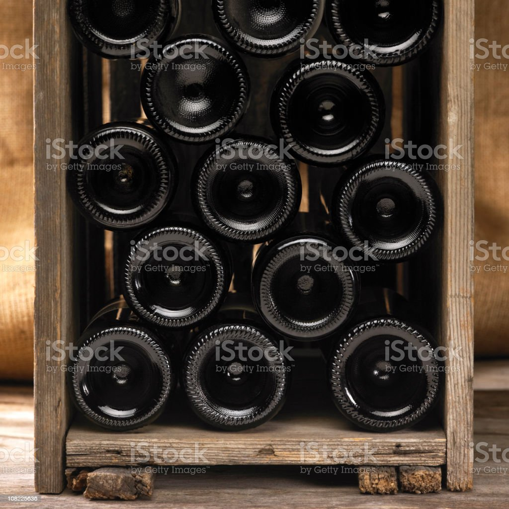 Crate with wine bottles stock photo