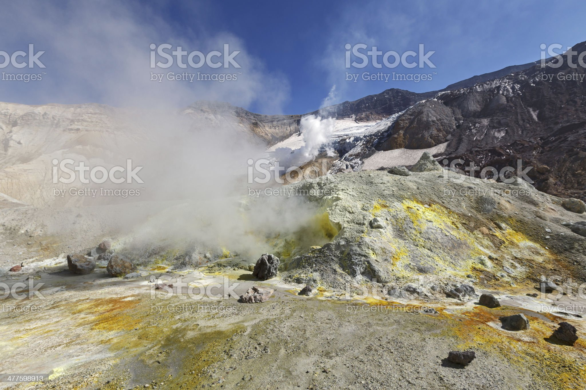 Crater active volcano of Kamchatka Peninsula royalty-free stock photo