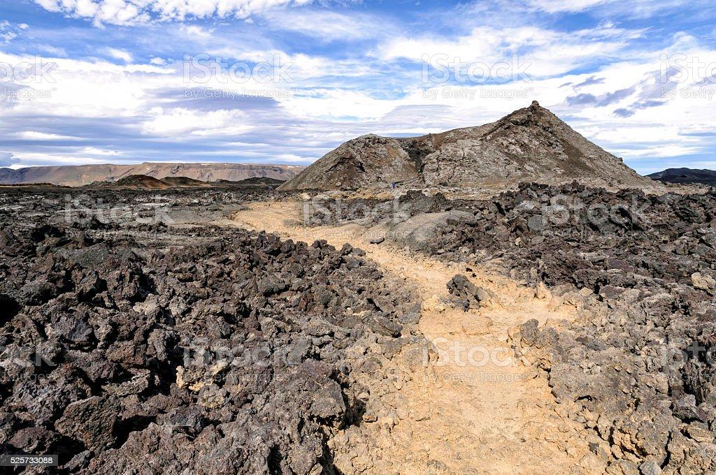 Crater and lava field in Krafla caldera, Iceland stock photo