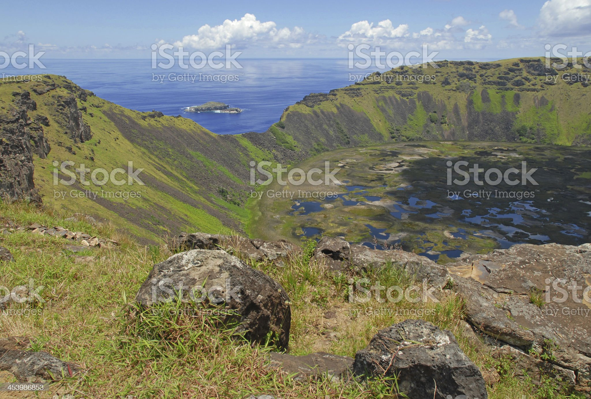 Crater, Easter Island royalty-free stock photo