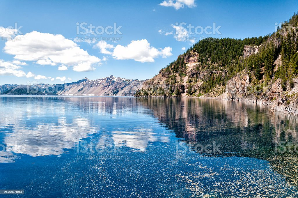 Crater lake at water level stock photo