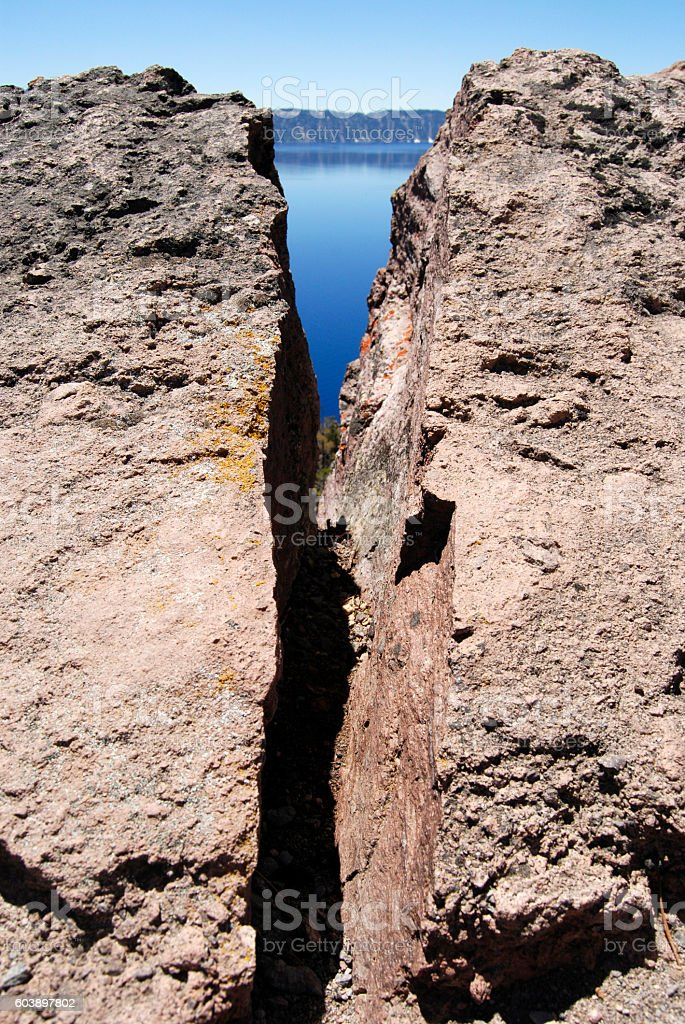 Crater Lake Crack stock photo