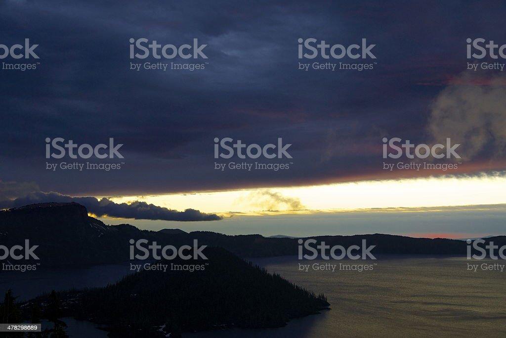 Crater Lake Dawn stock photo