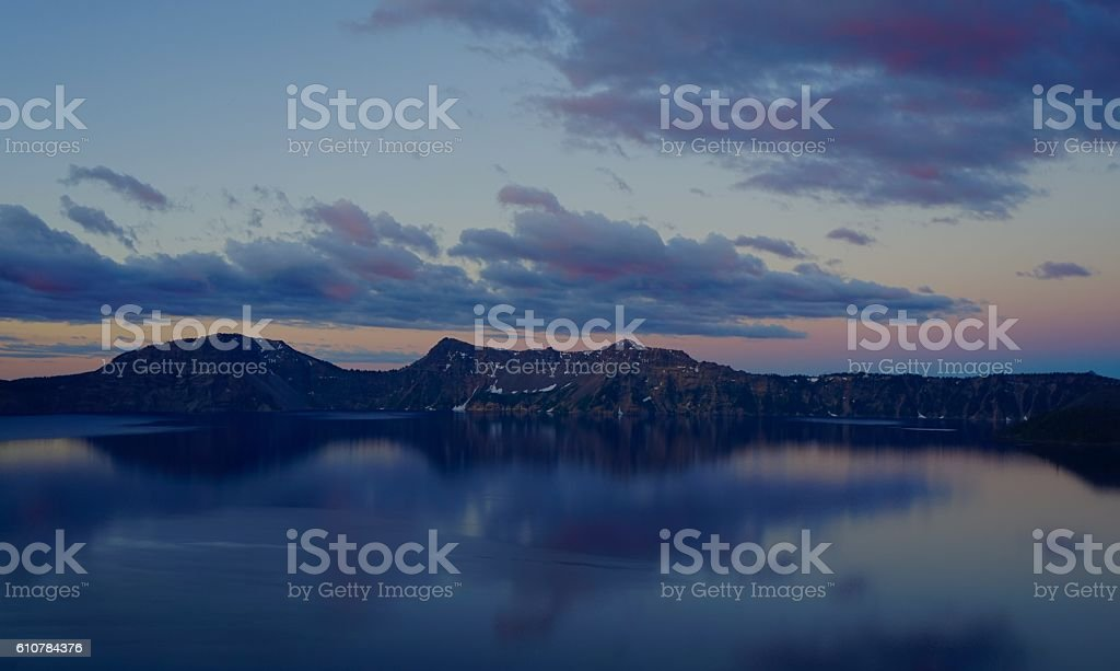 Crater Lake Dawn stock photo