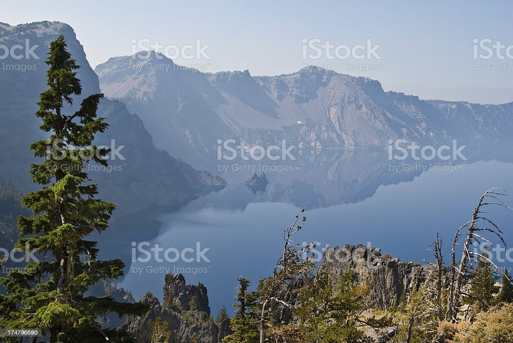 Crater Lake and Phantom Ship Rock Formation royalty-free stock photo