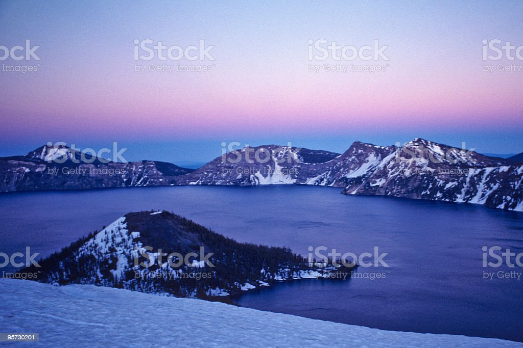 Crater Lake and Wizard Island at Sunset stock photo