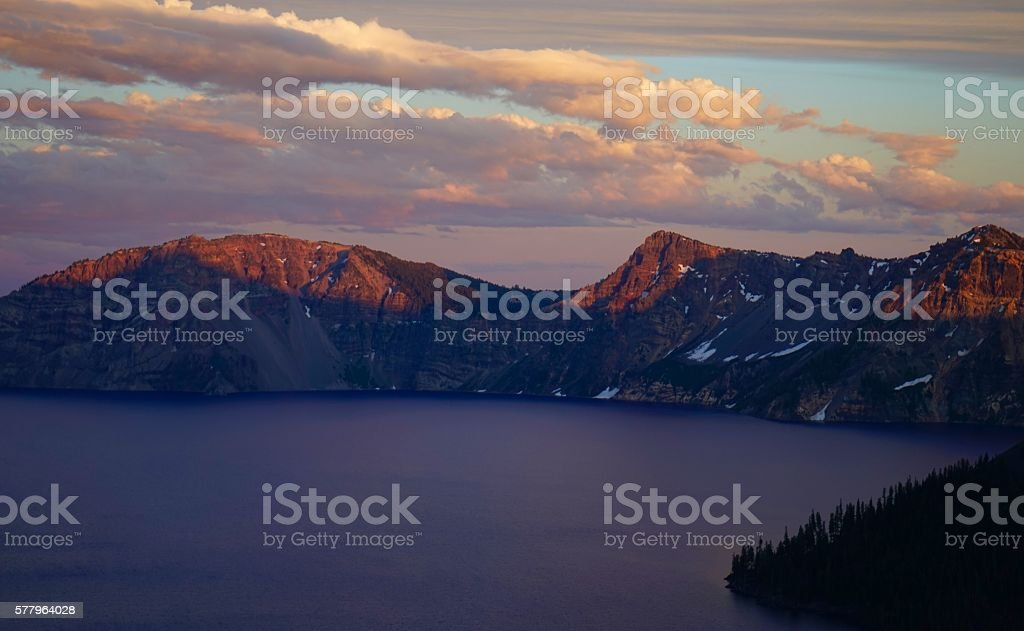 Crater Lake Firewall stock photo