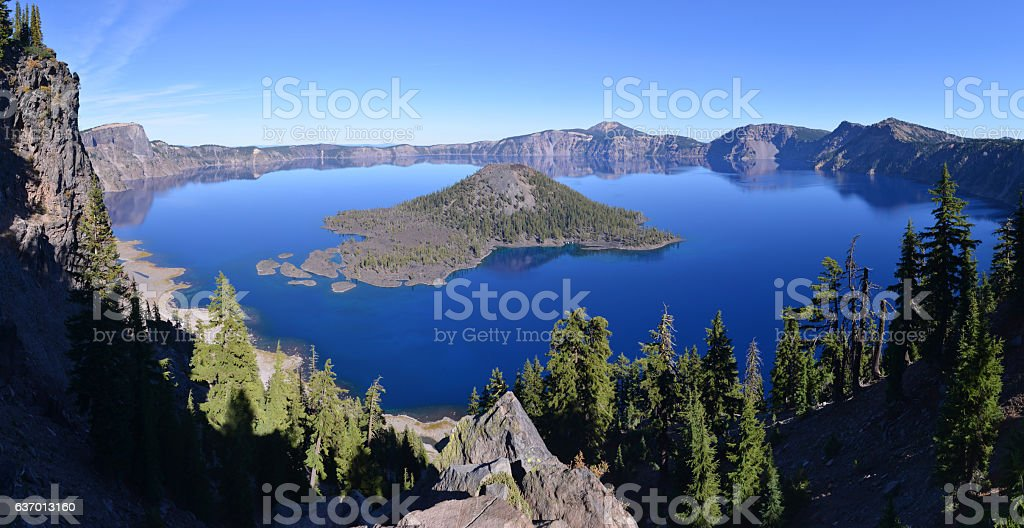 Crater Lake in Oregon state, USA stock photo
