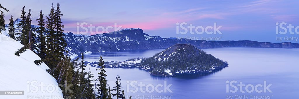 Crater Lake in Oregon, USA at dusk stock photo