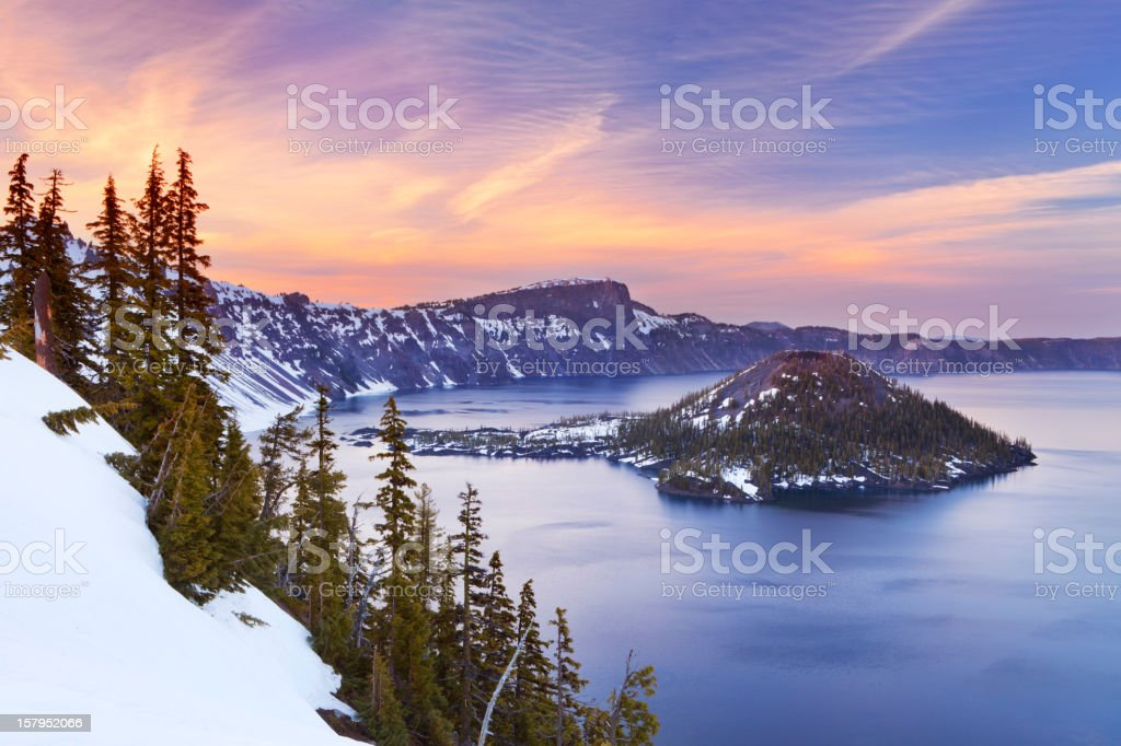 Crater Lake in Oregon, USA at sunset stock photo