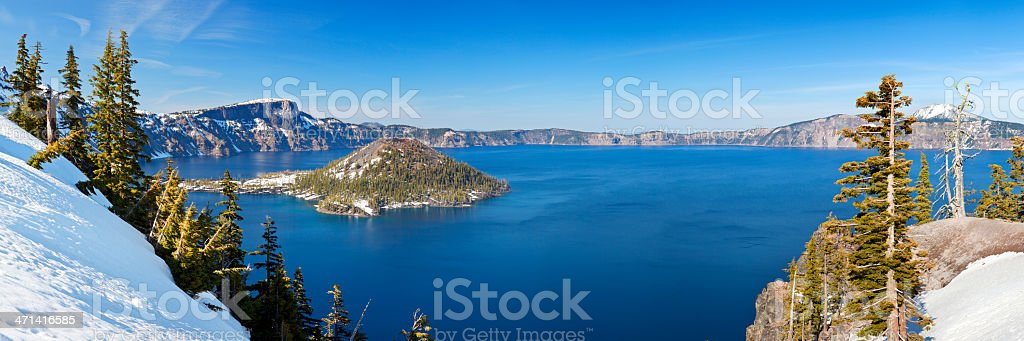 Crater Lake in Oregon, USA on a clear sunny day royalty-free stock photo