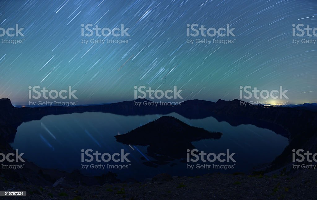 Crater Lake National Park at night, Oregon, USA stock photo
