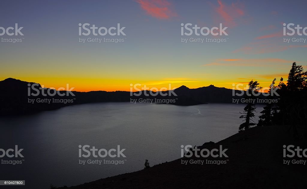 Crater Lake Nightfall stock photo