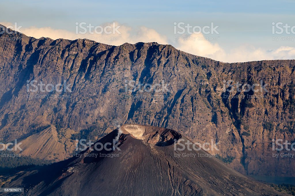 Crater lake of Mount Rinjani stock photo