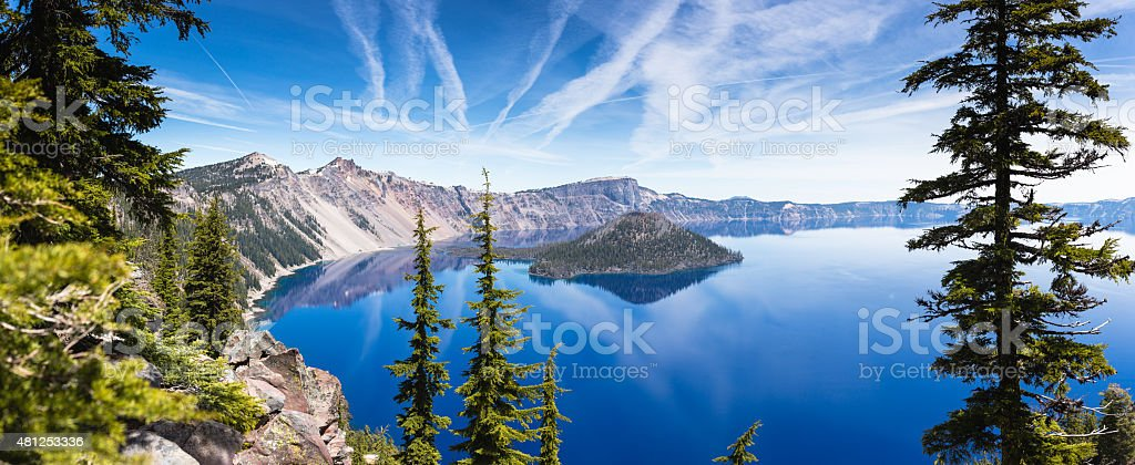 Crater lake panorama stock photo