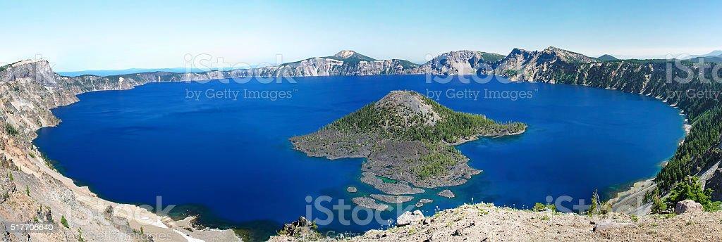 Crater Lake Panoramic stock photo