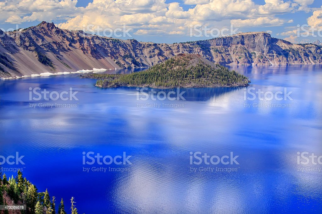 Crater Lake Reflection Wizard Island Clouds Blue Sky Oregon stock photo
