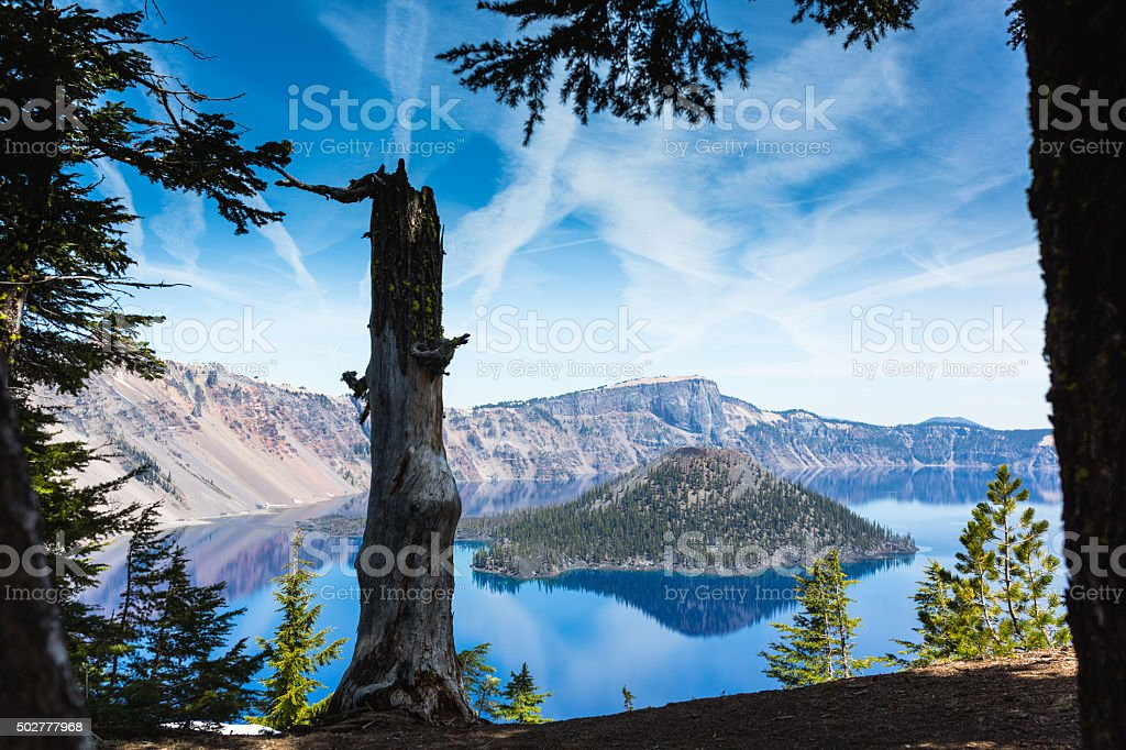 Crater lake view stock photo