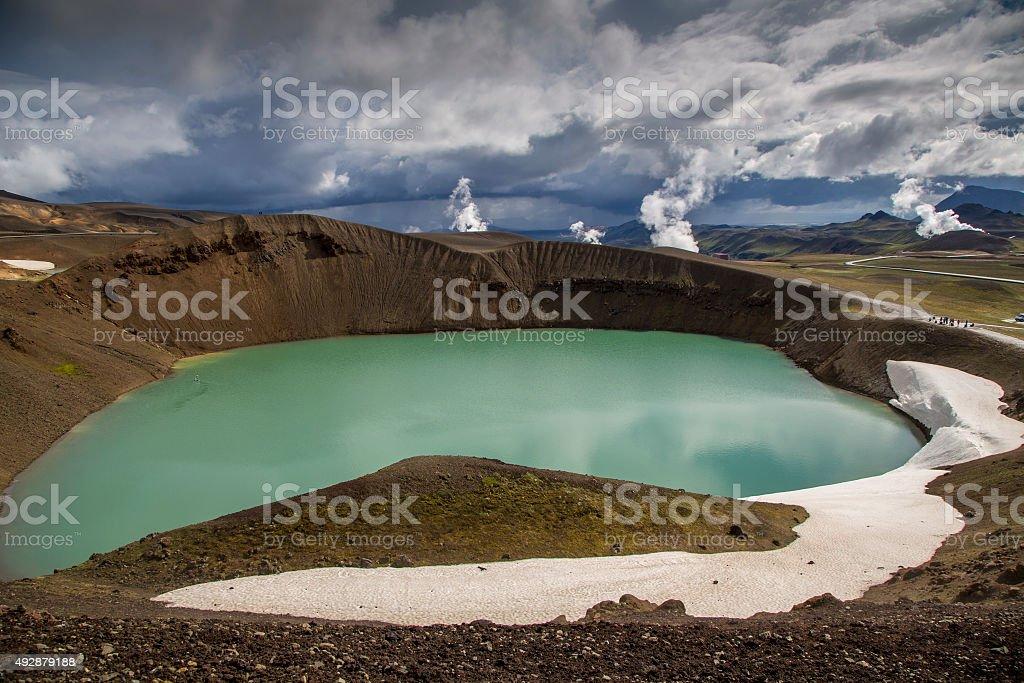 crater lake viti in iceland stock photo