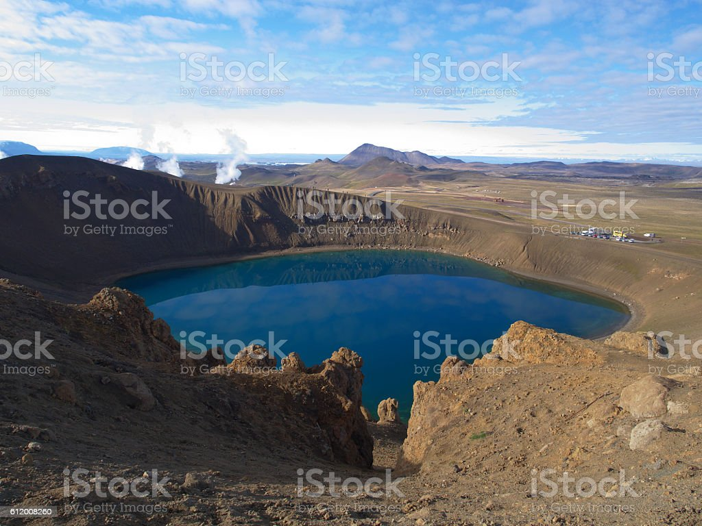 Crater lake Viti in the north of Iceland stock photo