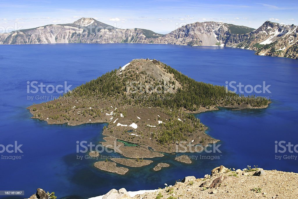 Crater Lake & Wizard Island royalty-free stock photo